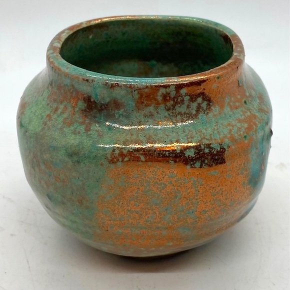 Signed Art Pottery Turquoise and Copper Glaze Pot